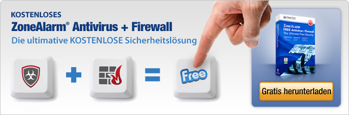 Kostenloses ZoneAlarm-Antivirus + Firewall. Die ultimative KOSTENLOSE Sicherheitsl&ouml;sung.