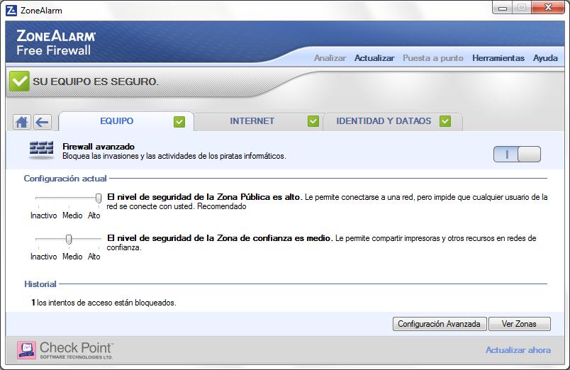 ZoneAlarm Captura de pantalla