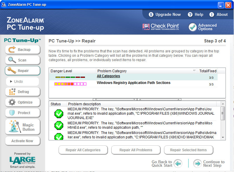ZoneAlarm PC-Tuneup Screen Shot