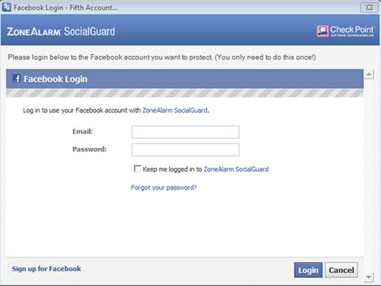 ZoneAlarm SocialGuard Facebook Login