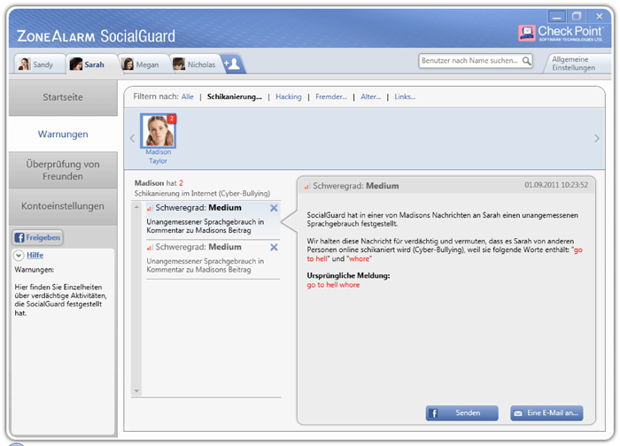 ZoneAlarm SocialGuard Cyberbullying