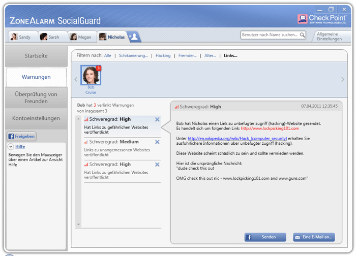 ZoneAlarm SocialGuard Dangerous Links