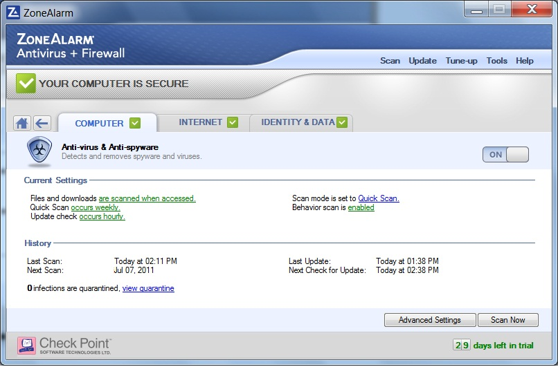 ZoneAlarm PRO Antivirus + Firewall Screenshot