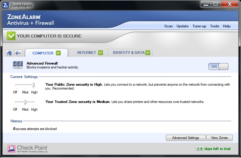 ZoneAlarm Aitivirus and Firewall 2012 Screenshot