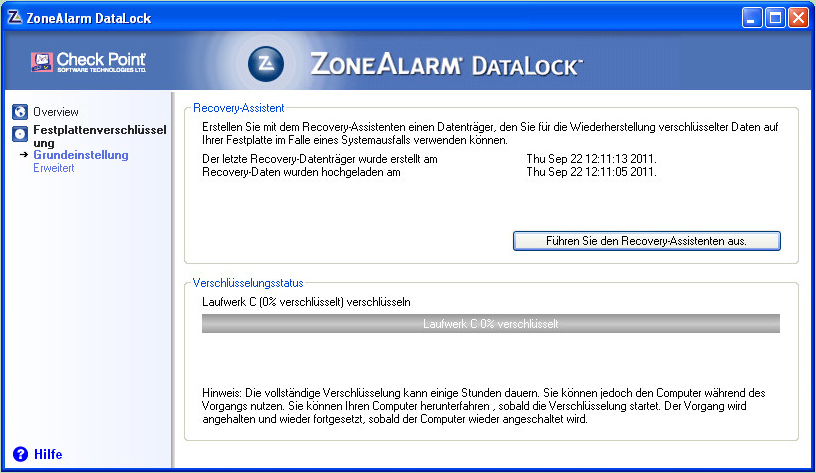 ZoneAlarm DataLockScreenshot