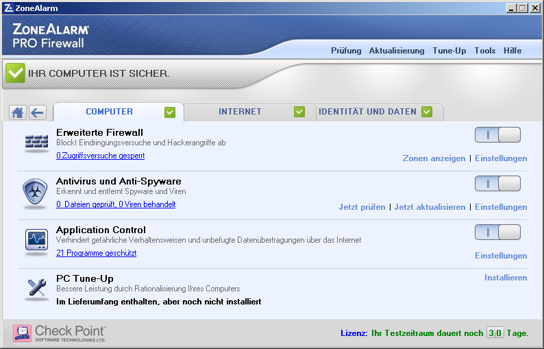 ZoneAlarm PRO Firewall Screenshot