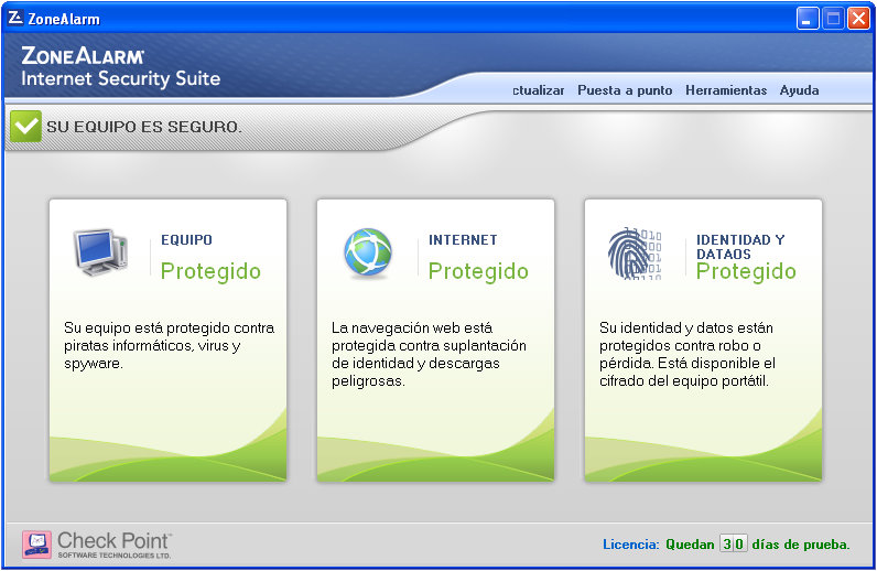 ZoneAlarm Internet Security Captura de pantalla