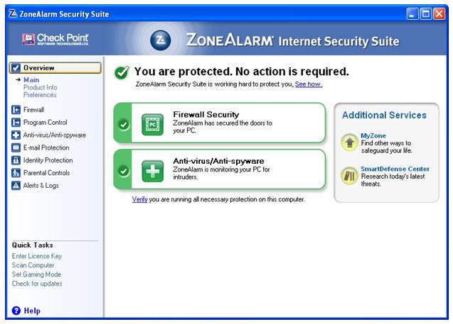 ZoneAlarm Security Suite 2010 full screenshot