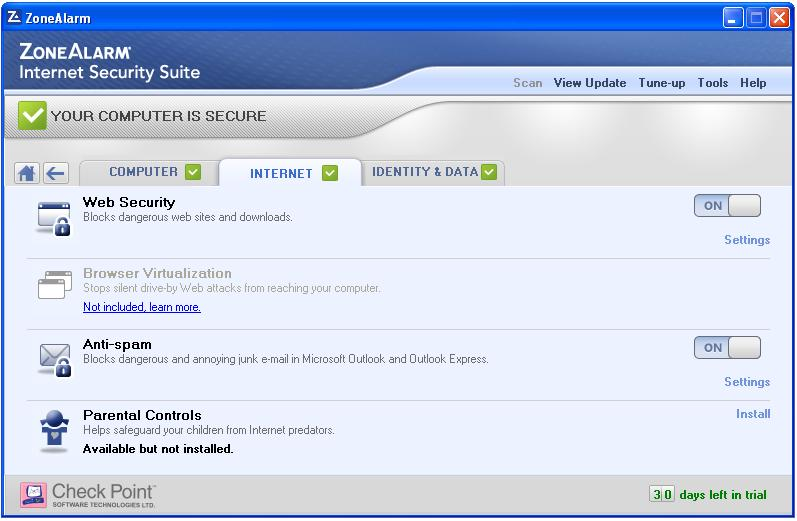 ZoneAlarm Internet Security Suite Screenshot