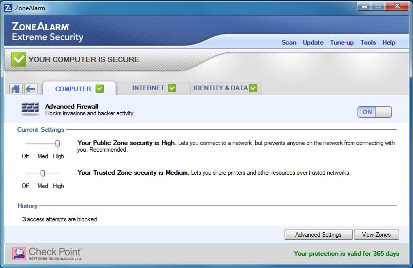 ZoneAlarm Extreme Security Screenshot